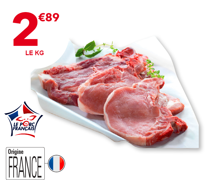 Assortiment côtes de porc (Échine, carré, filet)
