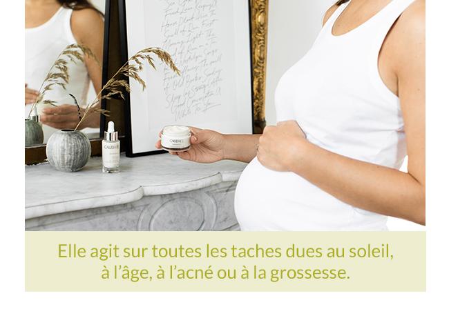 Elle agit sur toutes les taches dues au soleil, à l'âge, à l'acné ou à la grossesse.